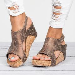 Women Sandals Platform Sandals Wedges Shoes For Women Heels Summer Shoes Leather Wedge Heels Sandals Brown 35