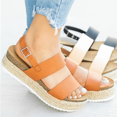 2019 Women Platform Sandals With Wedges Shoes For Ladies Waterproof Straw Braided Rope Roman Sandal Brown 35