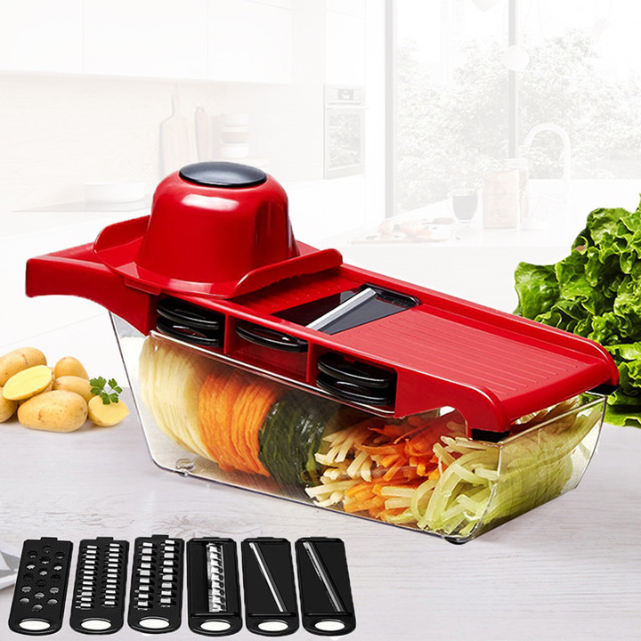 Mandoline Slicer Vegetable Cutter with Stainless Steel Blade Manual Peeler Grater Dicer Kitchen Tool Red 32*11CM