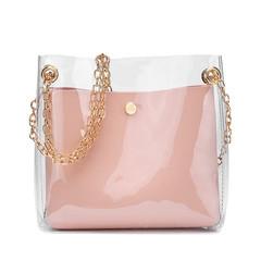 2019 Trend Bucket Bag Fashion Transparent Jelly Houlder Bag Solid Shoulder Messenger Handbag Bags Pink 17*17*7CM