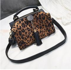 Women Handbags Leopard Shoulder Tassel Crossbody Bags For Women Messenger Bags,2019 Boom Promotion Black 21*15*9CM