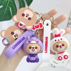 2020 Cartoon PVC Lokebear Keychain Cute Rabbit pig Bear Doll Key Chain Kids Toy Women bag Keyring Purple unicorn Uniform size
