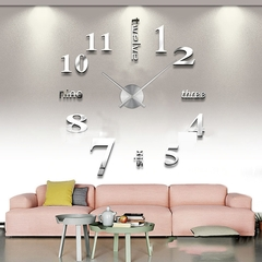 European Living Room Creative Clock DIY Acrylic Wall Clock Sweeping Free Punching Clock silver acrylic mirror + silver metal clock one size