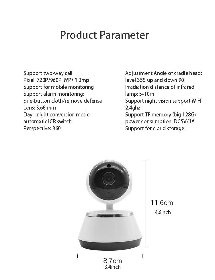 2019 HD 720P V380 housekeeping artifact wireless camera home wifi network 12
