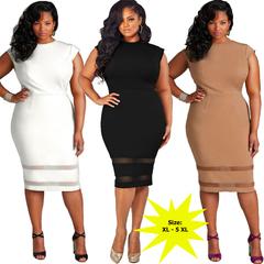 AFANTI 2019 Aliexpress Amazon hot sale plus-size frock solid color body pattern dress black xl