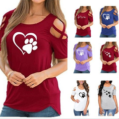AFANTI 2019 Amazon Aliexpress hot sale round neck T-shirt with short sleeves and open shoulder love red s