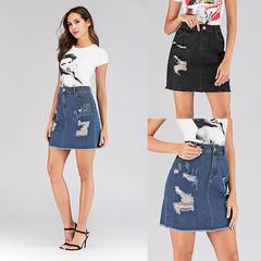 AFANTI 2019 Wish Amazon eBay Europe and America hot sale ladies' denim with holes fringed skirt black s