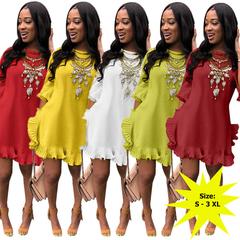 AFANTI 2019 Amazon Aliexpress hot sale European and American pleated irregular lotus leaf dress red s