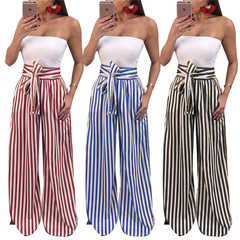 AFANTI 2019 Amazon Aliexpress hot sale European American Ladies Casual loose outdoor striped slacks red s