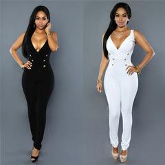 AFANTI 2019 Wish Aliexpress hot sale fashion women's V-neck slim casual Elastic jumpsuit white s