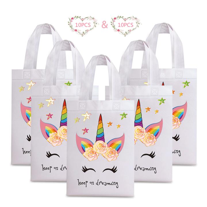 8cb62f1cd87d 20PCS Unicorn Laminated Waterproof Non-woven Paper Bag Birthday Party Gift  Tote Shopping Bag unicorn white 19.05 cm x 26.67 cm x 20cm