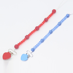2 piece set / newborn baby pacifier clip pacifier chain nipple clip crystal baby stroller lanyard blue+red/A one size