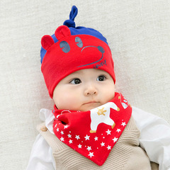 Baby bib thin scarf baby turban bibs saliva towel set cartoon print doll baby supplies red one size