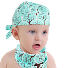 Children's printed thin hat pirate hat set children's headscarf bib led scarf peas hat bib newborn forest one size