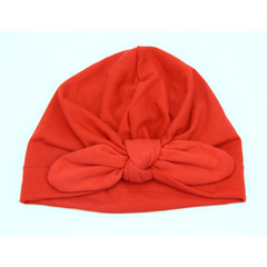 Newborn Baby Cotton Soft Turban Knot Hat Child Baby Rabbit Ear Knot Cap Child Hat red one size