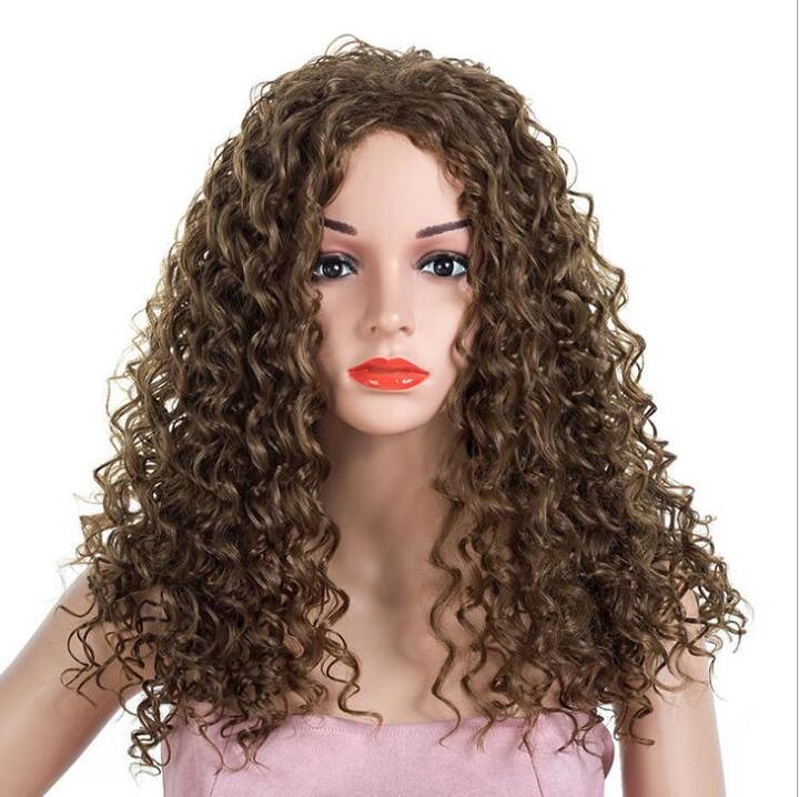 Explosive fashion temperament small volume explosion head chemical fiber wig headgear dark brown one size