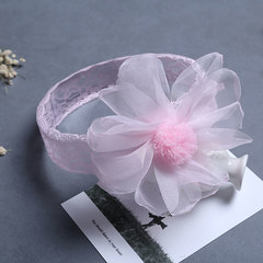 Girl Lace Big Flower Hairband Child Birthday Party Sweet Cute Children's Mesh Headband Accessories pink one size