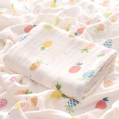 Children's bedding cartoon printing baby blanket bamboo fiber gauze baby towel newborn blanket Pineapple one size
