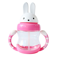 Rabbit baby cup bottle feeding drinking water handle child water bottle children drinking fountain pink one size