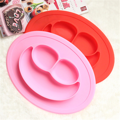 Baby feeding bowl silicone baby fruit tray bowl children snack bowl children cutlery dish pink one size