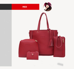 4-piece women's handbag, simple handbag, fashionable, large-capacity single-room oblique Bag in 2019 red 24*20*16cm