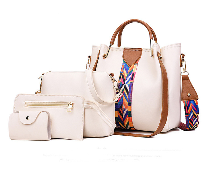 New Type of Large Capacity Multi-piece Single Shoulder Bag with Oblique Handbag in 2019 white 24*20*16cm