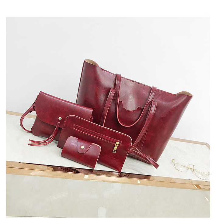 fashion ladies'oiled leather four-piece handbag, single shoulder bag and oblique Bag red 44*28*12cm
