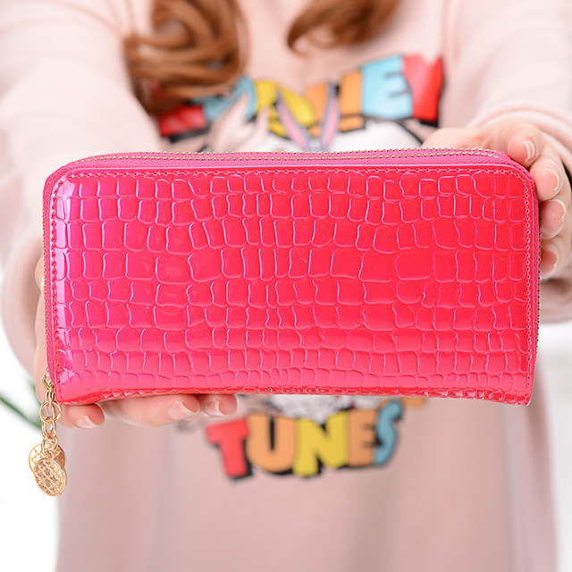 New double zipper lady's large and long wallet pocket purse mobile handbag pale red 19*9.5*3cm