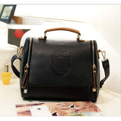 British double-pull crown bags fashion trend handbags single shoulder bags diagonal bag wholesale black 24*22*11cm