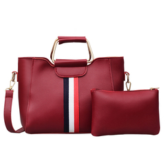 New Fashion European and American Coloured Bar Baitao Slant Bag Women's Bag red 25*21*10cm