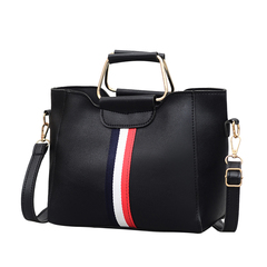 New Fashion European and American Coloured Bar Baitao Slant Bag Women's Bag black 25*21*10cm