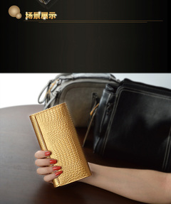 genuine leather wallet female alligator pattern cowhide wallet buckle Mobile Phone Wallet Golden 18.5*9.5*2.5cm