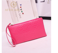 European and American fashion ladies handbag Pu pocket purse handbag crocodile pattern bag rose red 19*11*1.5cm