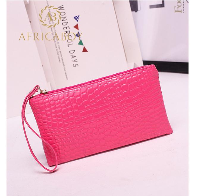 European and American fashion ladies handbag Pu pocket purse handbag crocodile pattern bag rose red 19*11*1.5cm