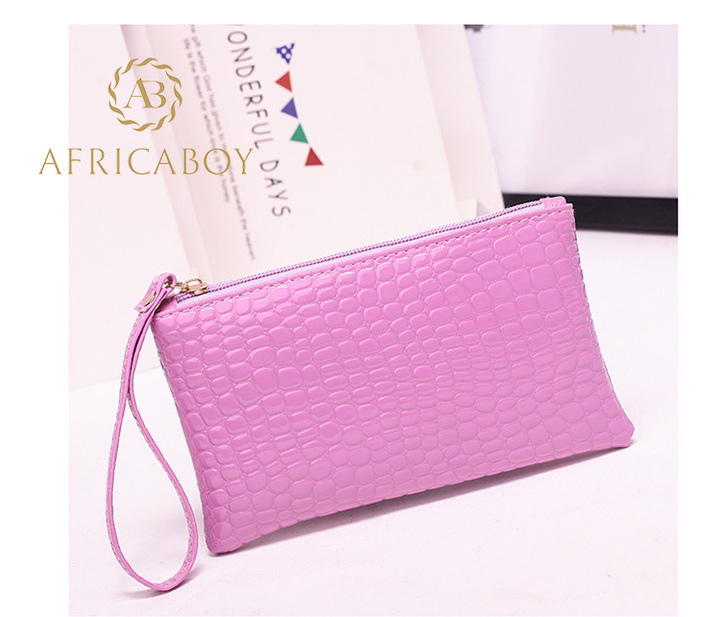 European and American fashion ladies handbag Pu pocket purse handbag crocodile pattern bag violet 19*11*1.5cm