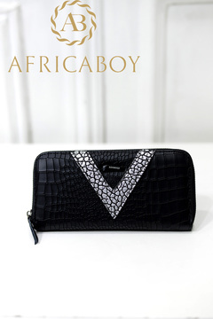 new fashion color matching PU crocodile pattern medium-length 1 fold women's leisure Wallet v font 21*10*3cm