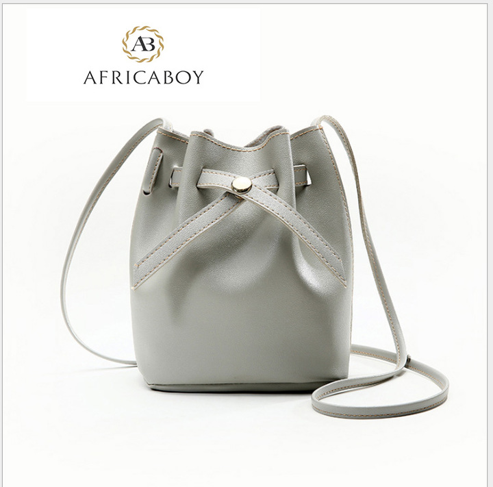 New Fashion Bucket Fashion Single Shoulder Slant Bag gray 22*16*12cm