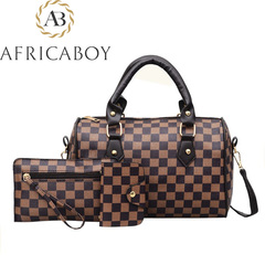 Fashion Three-piece Set of Hundred-handed Bill of Lading Shoulder Slant Bag Brown (lattice) 18*26*15cm