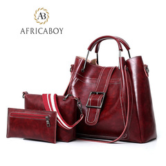 fashion  three-piece PU ladies' bag handbag, shoulder-to-shoulder packing and decorative bag red 34*13*23cm