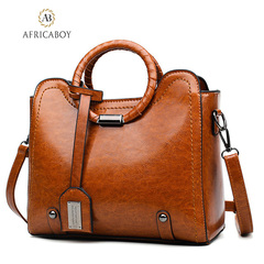 Fashion handbag ladies'bag with one shoulder and diagonal straddle brown 27.5*22*14cm