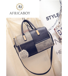 Euro-American Tide Stitching Lady's Handbag with Single Shoulder and Oblique Span Black-grey splicing 30*25*11cm