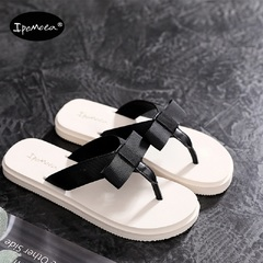 Butterfly knot summer fashion wearing flat heel anti-skid, all-round sandwich black 35