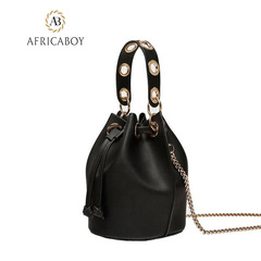 shoulder bag Drawing rope  bag recreational fringed single shoulder inclined bag woman handbag black 21*19*15cm