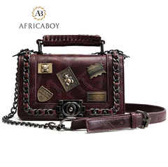 European and American Chain Bag Inclined shoulder bag woman Handbag red 20*7*13cm
