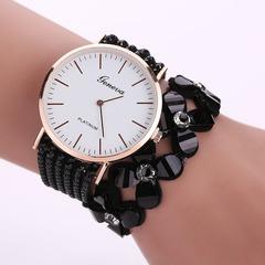 Crystal circle watch lady full diamond watch four leaf grass fashion leisure quartz crystal watch red