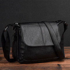 new middle-aged women's bag cross body bag soft leather mother bag lady single shoulder cross bag black one size