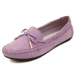 Candy Color Women Loafers Tassel Fashion Round Toe Ladies Flat Shoes Sweet Bowtie Flats Casual Shoes purple 40