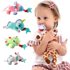 Large doll Baby Boy Girl Dummy Pacifier Chain Clip Plush Animal Toys Soother Nipples Holder blue unicorn 14cm*16cm
