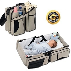 Multifunctional portable mommy bag folding crib newborn supplies pink as picture