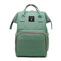 Multi-functional high-capacity mommy bag mommy bag double shoulder baby bag green as picture